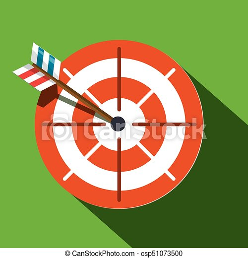 Target Symbol. Red and White Circle with Arrow on Green background. Vector Flat Design Icon. - csp51073500