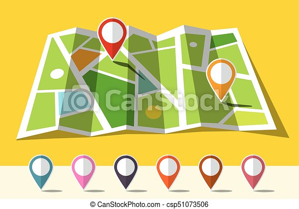 Map Icon with Set of Markers - csp51073506