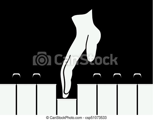 Hand Playing Piano Keys. Vector Musical Flat Design Background. - csp51073533