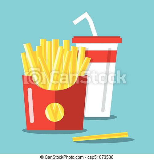 French Fries with Soda. Vector Flat Design Food and Drink Cartoon. - csp51073536