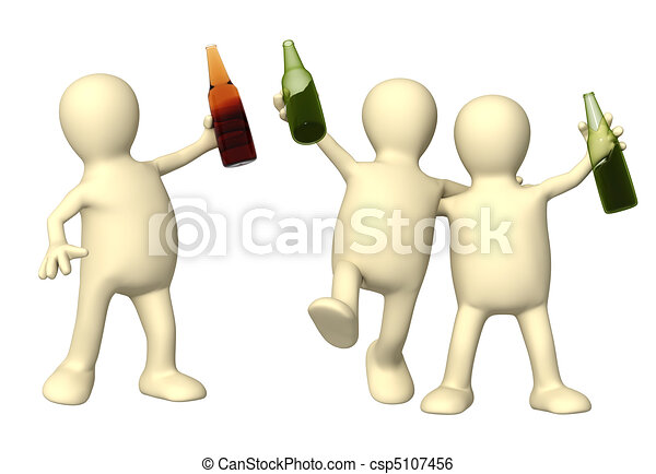 Cheerful friends with bottles of beer  - csp5107456