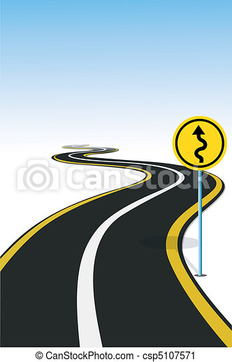 Vector Clip Art of highway - illustration of road sign pole beside ...