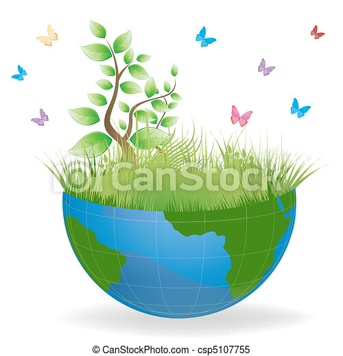 Clipart Vector of green earth - illustration of beautiful nature ...