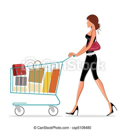 shopping lady with trolley - csp5108480