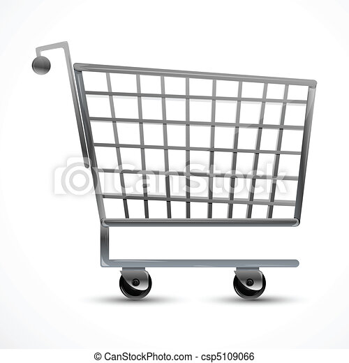 Clip Art Vector of shopping trolley - illustration of shopping ...