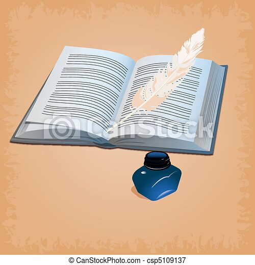 feather pen with open book - csp5109137