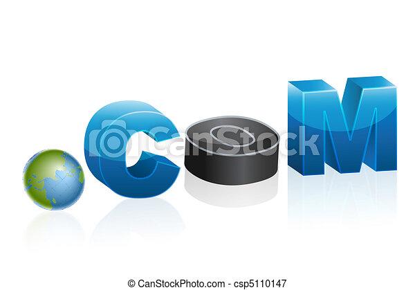dot com icon with globe - csp5110147