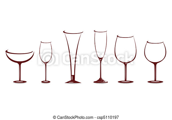 various shapes of wine glasses - csp5110197