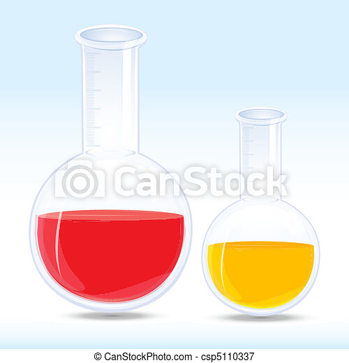 colored chemical in flask - csp5110337