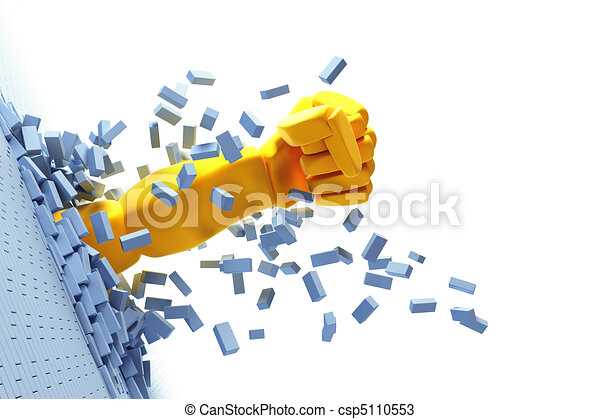 breaking brick wall by hand - csp5110553