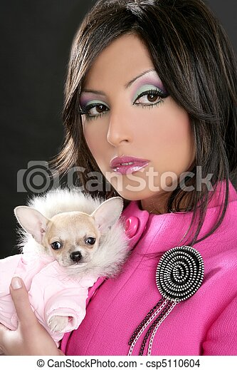 fashion doll womn with chihuahua dog pink 1980s - csp5110604
