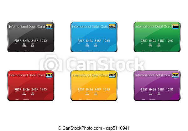 colorful international debit cards - csp5110941
