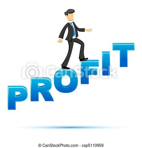 businessman climbing on profit text - csp5110959