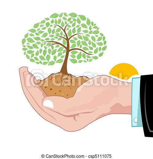 natural tree growing on hand - csp5111075
