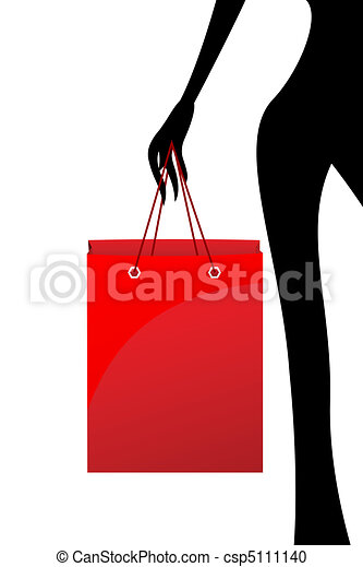 lady with shopping bag - csp5111140