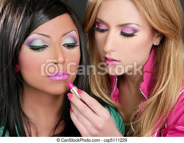 Lipstick fashion girls barbie doll makeup retro 1980s - csp5111229