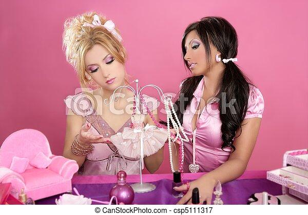 barbie doll girls pink vanity table fashion designer - csp5111317