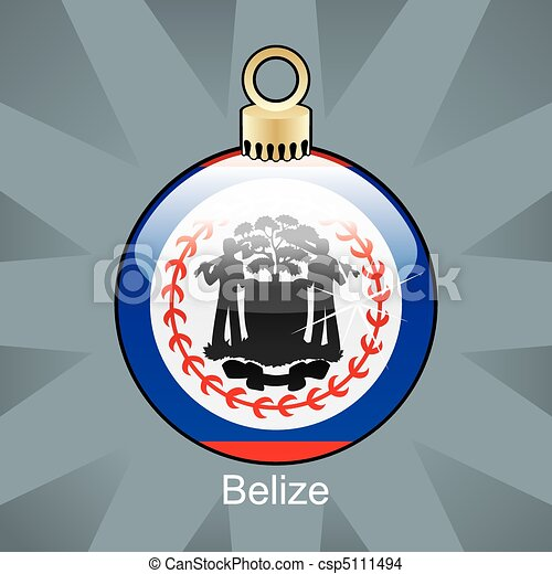 Belize flag in christmas bulb - csp5111494