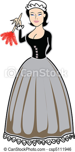Maid servant with duster clip art - csp5111946