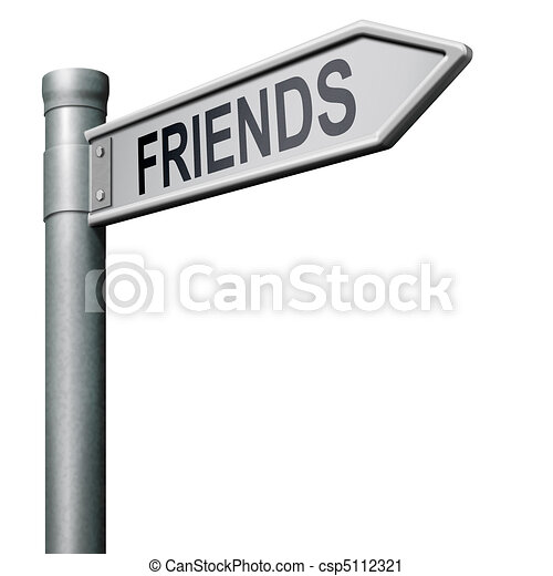 friends search find online friend road sign arrow indicating way in ...