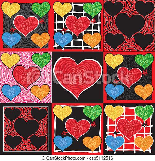 Funky Valentine Hearts - csp5112516