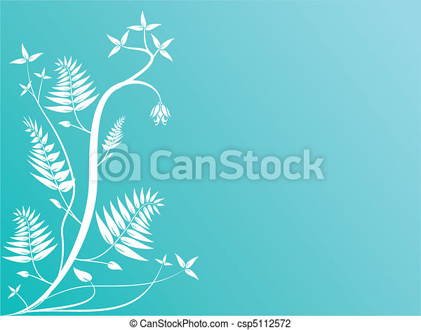 An abstract cyan floral illustration - csp5112572