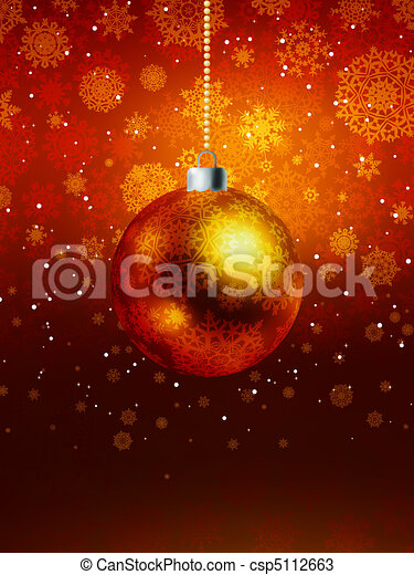 Christmas ball on falling flakes template. EPS 8 - csp5112663