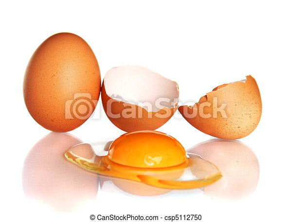 Egg and smashed an egg on a white background - csp5112750