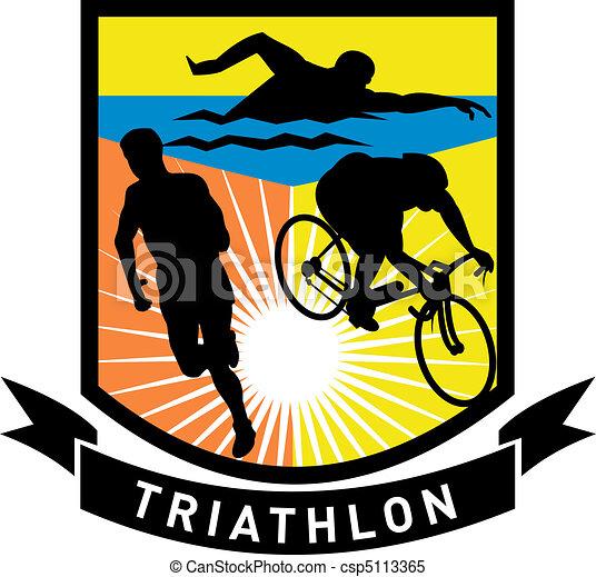 triathlon athlete run swim bike - csp5113365