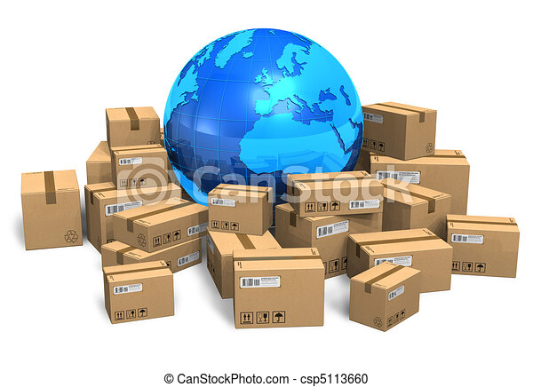 Cardboard boxes and Earth globe - csp5113660
