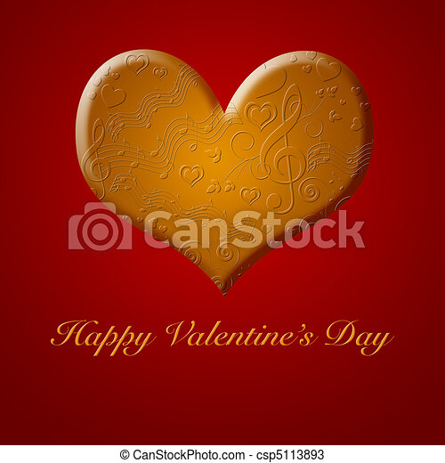 Happy Valentines Day Music Songs from the Gold Heart - csp5113893