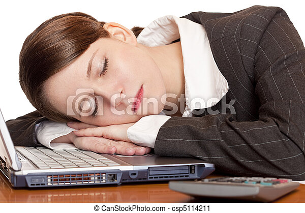 Tired overworked business woman sleeps in office on laptop - csp5114211