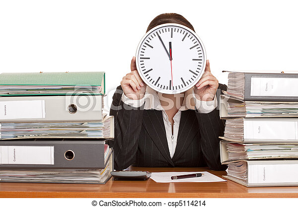 Woman in office has stress because of time pressure - csp5114214