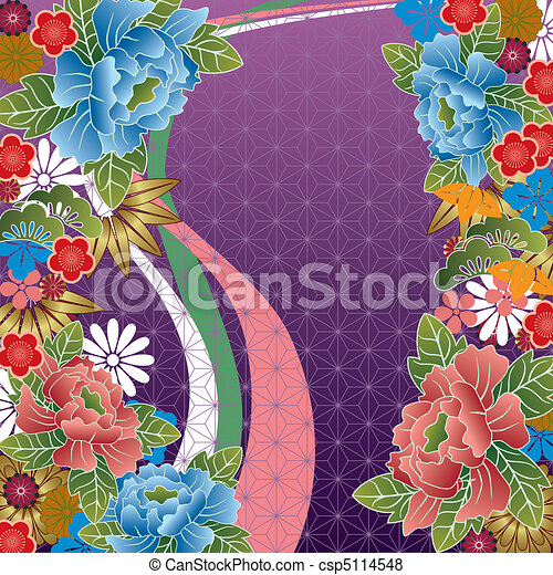 Japanese traditional floral pattern - csp5114548