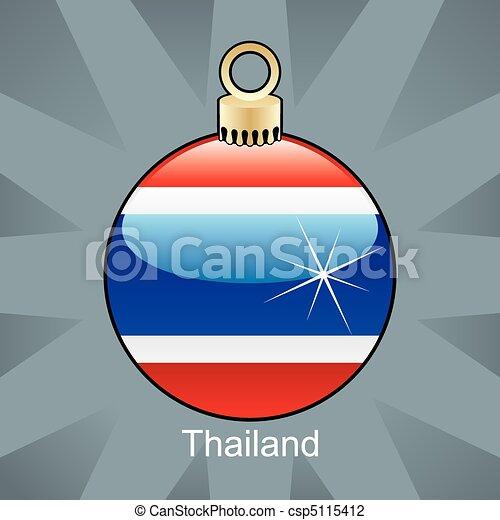 Thailand flag in christmas bulb - csp5115412