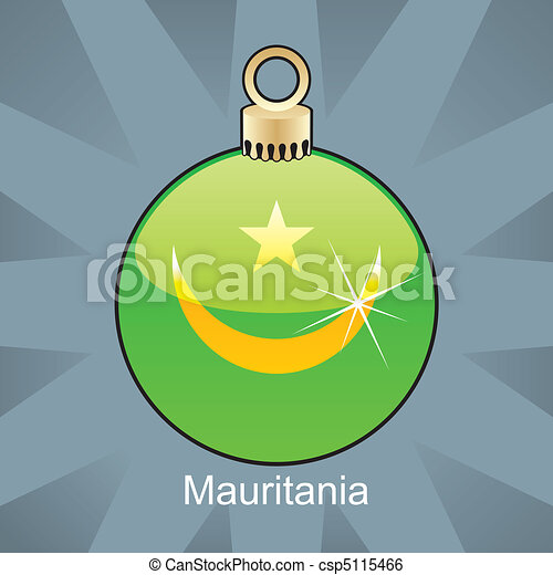 Mauritania flag in christmas bulb - csp5115466