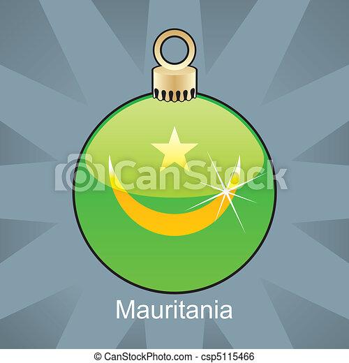 Mauritania flag in christmas bulb - csp5115466