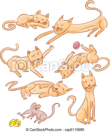 Six cats and one mouse - csp5115680