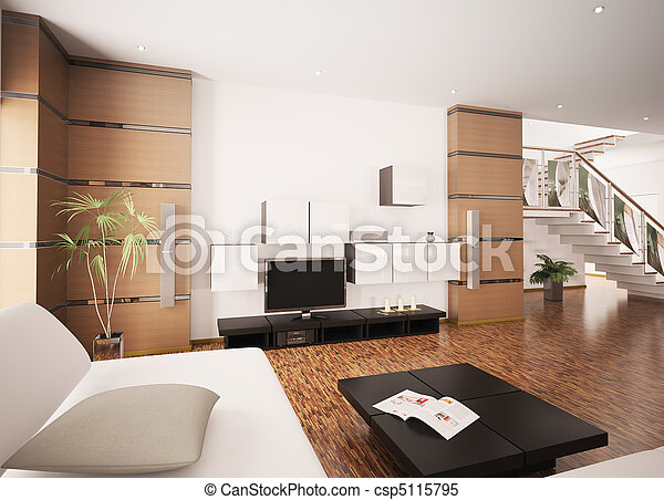 Modern living room interior 3d render - csp5115795