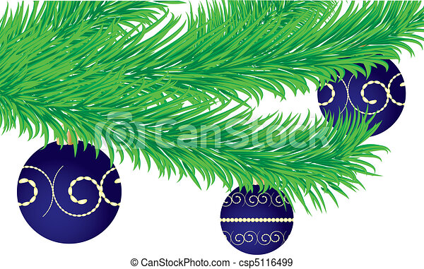 Christmas greetings card with fir tree branch decorated with baubles, vector illustration - csp5116499