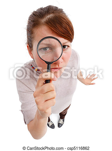 Serious woman as detective with magnifier - csp5116862