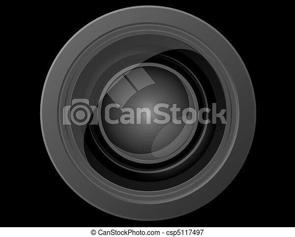 Close Up Front View of a Camera Lens - csp5117497