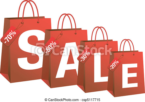 sale with red shopping bags, vector - csp5117715
