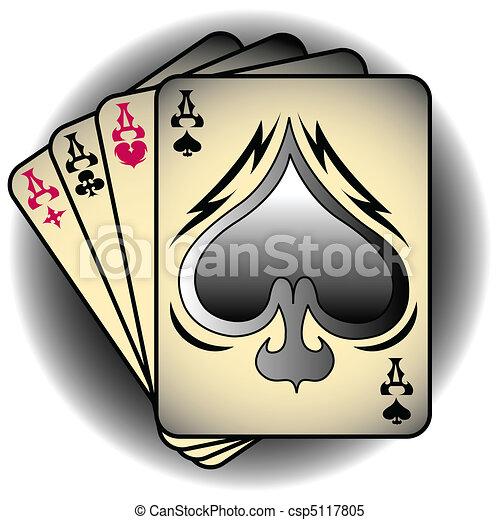 Aces Spades Poker Clip Art - csp5117805