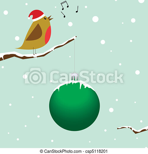 Singing christmas bird - csp5118201