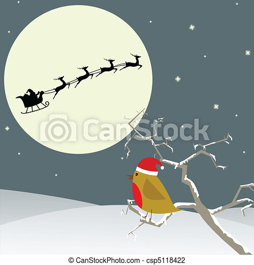 Bird watches Santa flying by - csp5118422