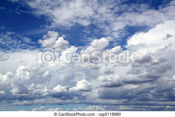 blue sky skyscape with clouds dramatic shapes - csp5118980