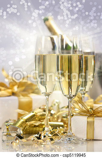 Champagne celebration for the new year - csp5119945