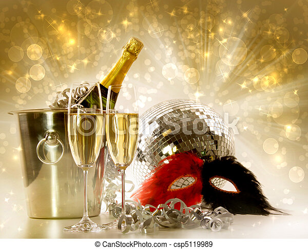Two glasses of champagne against festive gold background - csp5119989