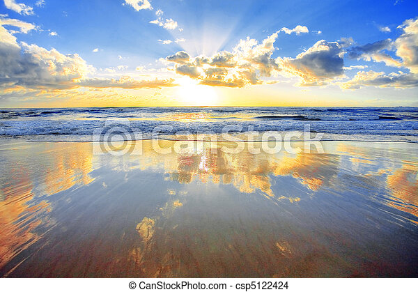 aus, Sonnenaufgang, wasserlandschaft - csp5122424